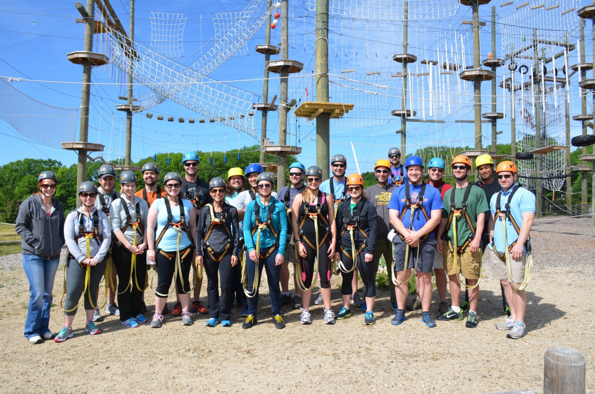 The Digital Prospectors at a company ropes course outing